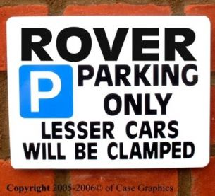 ROVER Parking Sign for sd1 p6 p5 p4 3500 3.5 2000 gift